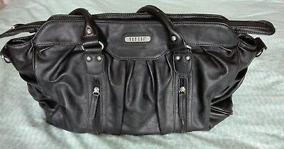 Vanchi NU Leather Doctor Bag Black Baby Changing Bag Twins/Large