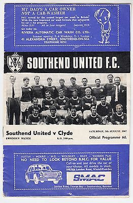 SOUTHEND UNITED v CLYDE - Friendly - August 5th 1967 - programme