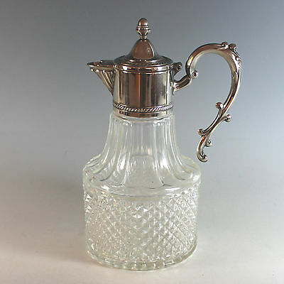 Vintage Silverplate and Cut Glass Claret Jug Carafe Silver Plate