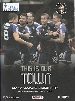 Luton Town v Stevenage - 14th Oct 2017 Programme (Signed by Luke Berry)