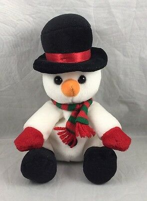 Sears Ho Ho Beans 1998 Snowman First Edition Winter Christmas Plush Holiday Snow