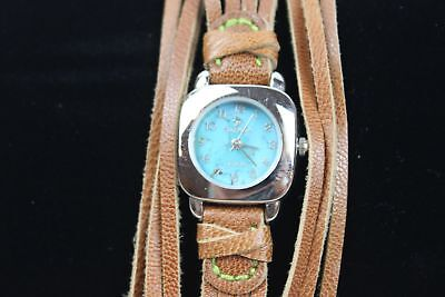 Silpada Brown Leather Watch T1244 Turquoise Face New Battery