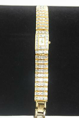 Suzanne Somers Gold Tone Crystal Rhinestone Watch New Battery QVC Gold Tone
