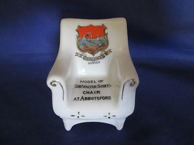 Shelley Crested Ware 325 Model of Sir Walter Scott`s Chair Abbotsford, Newhaven