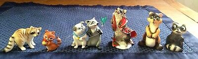 Mixed Lot Of 6 Raccoon Figures, Vtg. Bone China, Ceramic, Plastic, Miniature