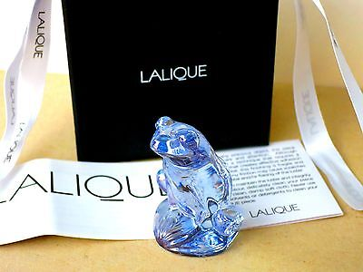 NEW LALIQUE Figure RAINETTE FROG BLUE LUSTER with BOX, Paper,Ribbon,Gift Bag