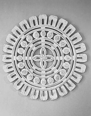 White Wood Carved Wall Art. Panel. 60cm x 60cm, Hamptons, French, Coastal