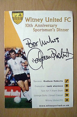 WITNEY UNITED FC 10th Anniversary DINNER MENU-HAND SIGNED by GRAHAM ROBERTS(ORG