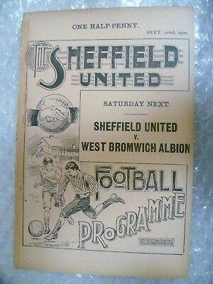 1900/1901 Sheffield United Reserve v Wombwell Town, 22nd Sept 1900