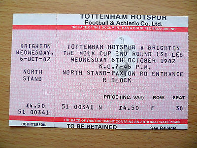 1982 League Cup 2nd RD 1st Leg Ticket- TOTTENHAM HOTSPUR v BRIGHTON,org