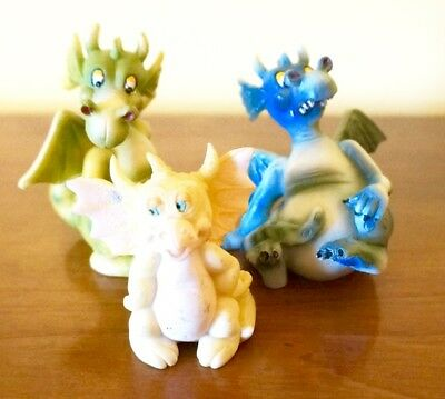 """Dragon Figurines; Set of Three; Heavy Plastic; Approx. 2 @ 3""""H and 1 @ 2.5""""H;"""