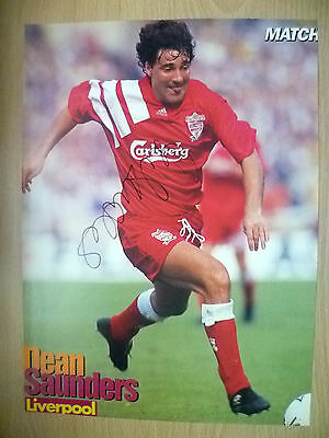 Original Hand Signed Press Cutting- DEAN SAUNDERS, Liverpool FC (apx. A4.)