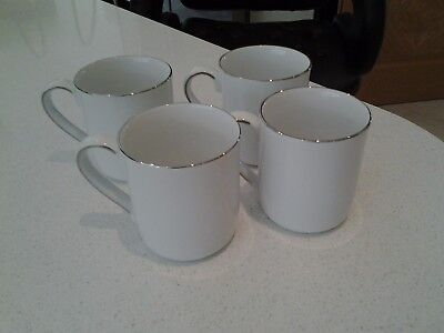 Brand New 4 white and platinum royal doulton mugs