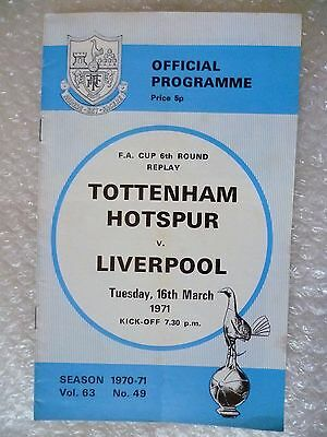 1971 Tottenham Hotspur v Liverpool, 16th March (FA Cup 6th RD REPLAY)
