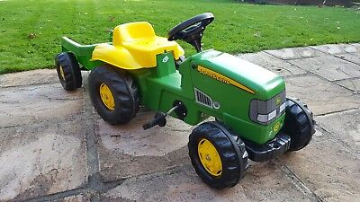 John Deere ride on toy tractor and trailer