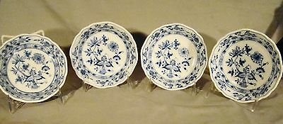 "set 4 Antique Bloch & Co. Blue Onion Fruit Bowls 6 3/4"" c1882-1944"