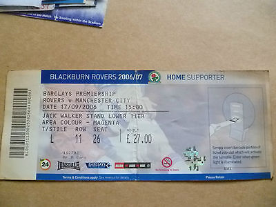 Ticket- 2007 ROVERS v MANCHESTER CITY, 17 Sept, Barclays Premiership