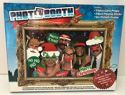 24 PC Photo Booth Selfie Props Adult Party Memory faces Merry Christmas 329005
