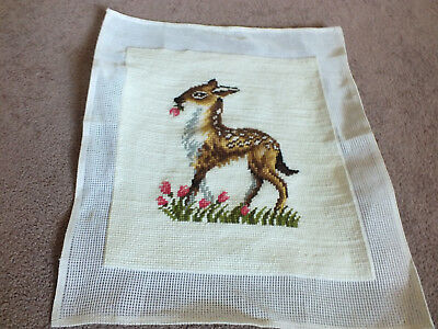 "Collectible Needlepoint Sampler ""Bambi Floral"" 12x10"" Worked Area Ready to Frame"
