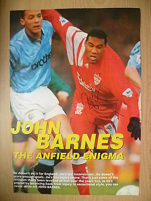 100% Genuine Hand Signed Press Cutting of Liverpool FC Player - JOHN BARNES