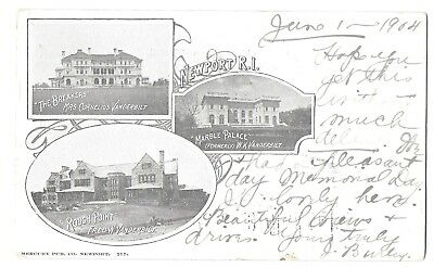 Newport, RI, Breakers, Rough Point, Marble Palace, 3-View Card, pm 1904