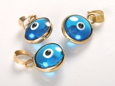 Ocean Blue Round Evil Eye Good Luck Charm Pendant Real 14K Yellow Gold