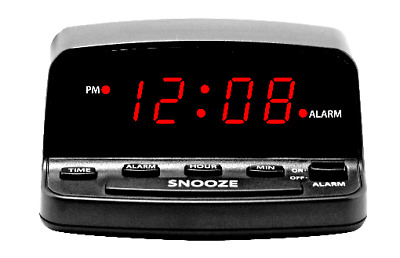 Digital Alarm Clock w Keyboard Controls Electric w Battery Backup Bright Red LED