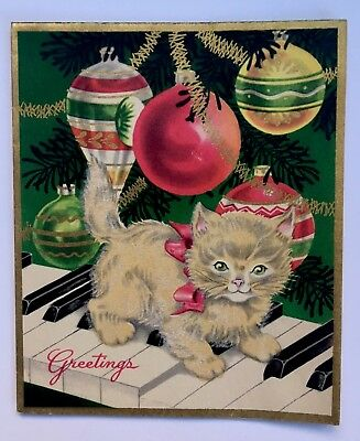 Vintage Greeting Card White Flocked Kitty Cat Piano Tree Ornament Gold Garland