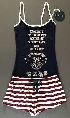 Neu Harry Potter Damen Pyjama Schlafanzug Top + Shorty Hogwarts School Primark