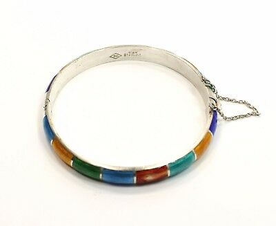 Multicolor  Sterling Silver  Hinged  Estate Bangle