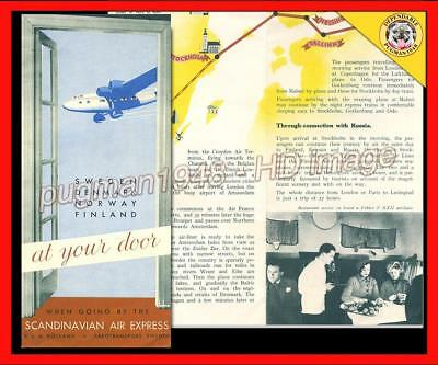 SCANDINAVIAN AIR EXPRESS 1935 AIRLINE TIMETABLE SCHEDULE...Fokker XXII Photos