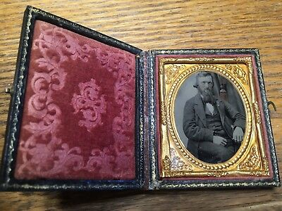 Beautiful 1/9 plate Ambrotype of a well suited unique looking bearded gentleman