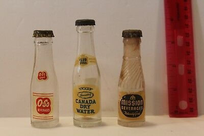 3 Vintage Rare Glass Mini Soda Bottles: O So, Mission Bev, and Canada Dry Water
