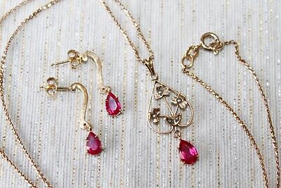 10 g Vintage 10 k Gold RUBY & Seed PEARLS Lavalier Necklace & Earrings set