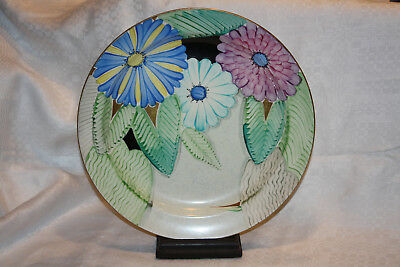 """Scarce 1930s Art Deco GRAYS Pottery Charger Flowers + Gilding Susie Cooper 12.5"""""""