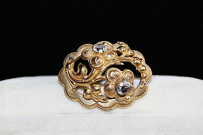Ornate VICTORIAN Rolled Gold Repousse ROCK CRYSTAL Paste C Clasp BROOCH pin