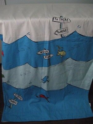 Pottery Barn Kids Dr Seuss One Fish Two Red Blue Shower Curtain