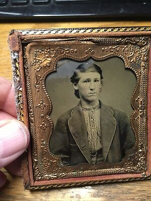 Gorgeous 1/6 plate Tintype of a Civil War Confederate boy with homespun shirt