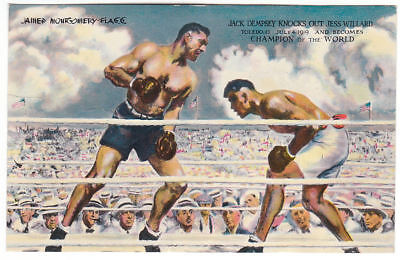 Early Jack Dempsey Knocks Out Jess Willard 1919 Original Autograph Postcard