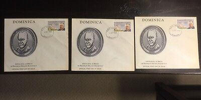 3 Dominica First Day Cover Franklin D Roosevelt 100Th Anniversary Of Birth 1982