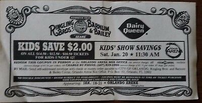Vintage Dairy Queen Ringling Bros. and Barnum & Bailey Circus Ticket