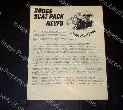 DODGE SCAT PACK NEWS August 1969 CHARGER Coronet SUPER BEE SIX PACK Muscle Car