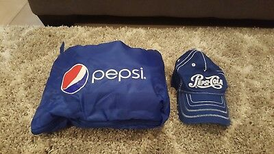 Pepsi blue fleece blanket and embroidered hat-New!