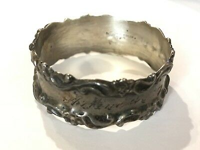 1904 ANTIQUE NS-NATIONAL STERLING SILVER Co. OLD AUGUSTA NAPKIN RING- (17.0 G.)