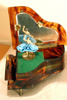 Rare Vintage Swiss Reuge Music Jewelry Box Case Piano With Ballerina & Mirror