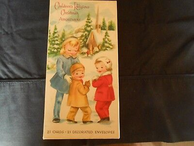 Lot of 8 vintage  Christmas cards UNUSED in box w/decorative envelopes ex. cond.