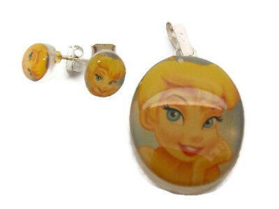 .925 Sterling Silver Tinkerbell Earrings And Pendant