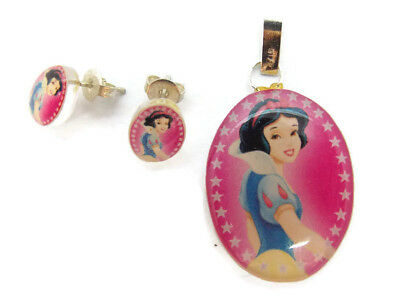 .925 Sterling Silver Princess Snow White Earrings And Pendant