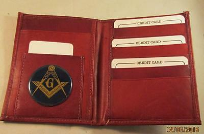 83472f324852 MASON MASONIC BLACK Leather Bifold Passport Wallet Card Holder New ...