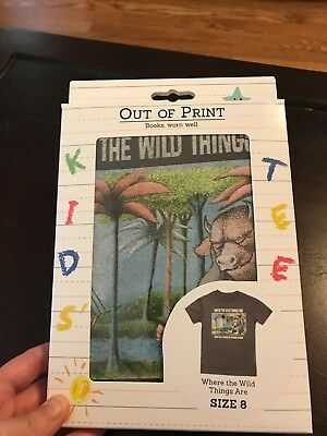 Out of Print Kids' t-shirt- Where the Wild Things Are, Size 8, New in Box